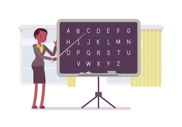 Lehrerin unterrichtet alphabet Premium Vektoren