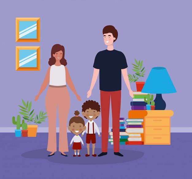 Lehrerpaare mit kleinen studentenkindern im raum Kostenlosen Vektoren