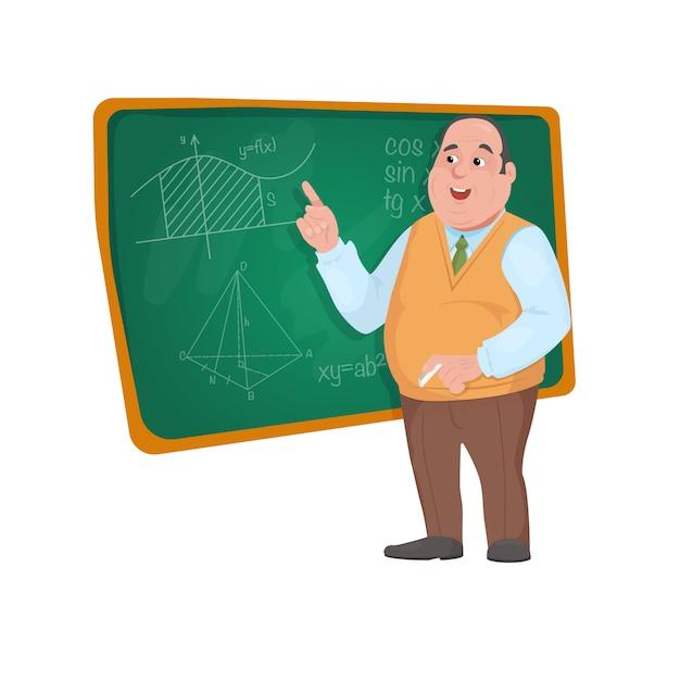 Lehrerprofessor, der vor unterrichtendem studenten der tafel im klassenzimmer steht Premium Vektoren