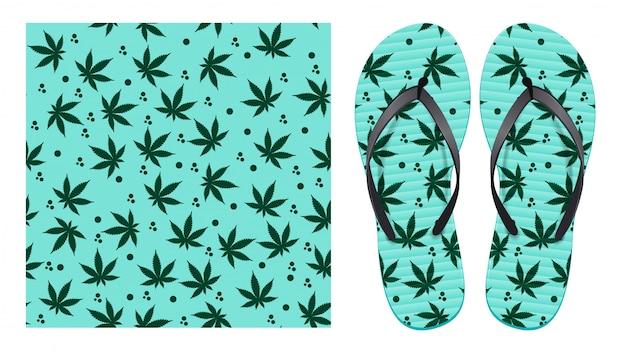 Leichtes nahtloses muster mit cannabisblättern und abstrakten flecken. musterdesign zum drucken auf flip-flops. Premium Vektoren