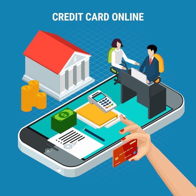 Leiht isometrische zusammensetzung mit konzeptuellen bildern von smartphone und zahlungselementen mit bank- und personenvektorillustration Kostenlosen Vektoren