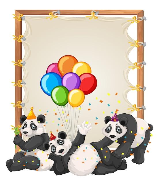Leinwand holzrahmenschablone mit pandas im partythema isoliert Kostenlosen Vektoren