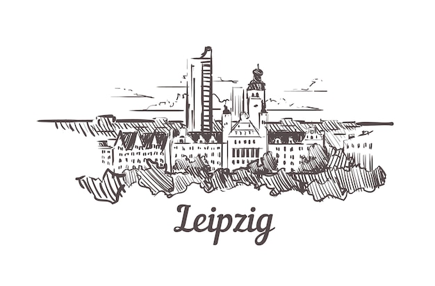 Leipziger skyline-skizze, deutschland Premium Vektoren