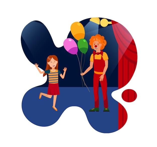 Leistung im zirkus für kinderflach illustration Premium Vektoren