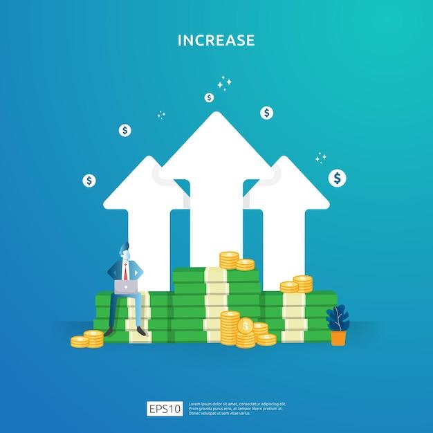 Leistungskonzept finanzieren. der geschäftsgewinn steigt mit dem wachstum des pfeils und dem charakter der menschen. einkommenslohnrate margeneinnahmen mit dollarsymbol steigern. return on investment roi abbildung Premium Vektoren