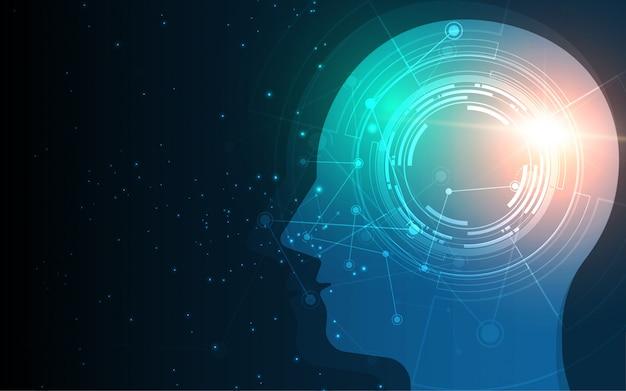 Leiter des digitalen wireframe-punkts der menschlichen künstlichen intelligenz Premium Vektoren