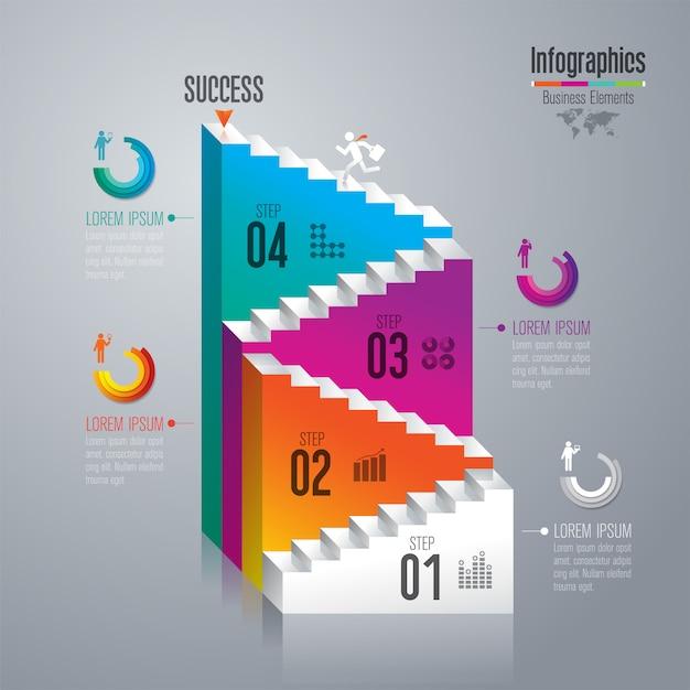 Leiter zum erfolg, infographic designschablone Premium Vektoren