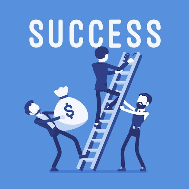 Leiter zum erfolg. team von geschäftsleuten, die auf ein hohes ziel oder einen hohen zweck, marktleistung, finanziellen gewinn, neue investition, geschäft, unternehmensgewinn aufsteigen. illustration mit gesichtslosen zeichen Premium Vektoren