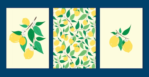 Lemon set nahtlose muster Premium Vektoren