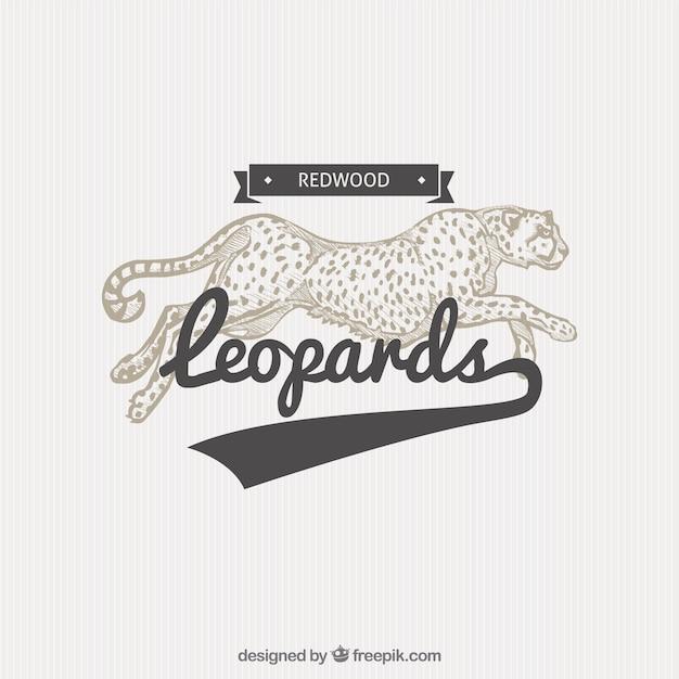 Leopard abzeichen in illustrationsart Premium Vektoren