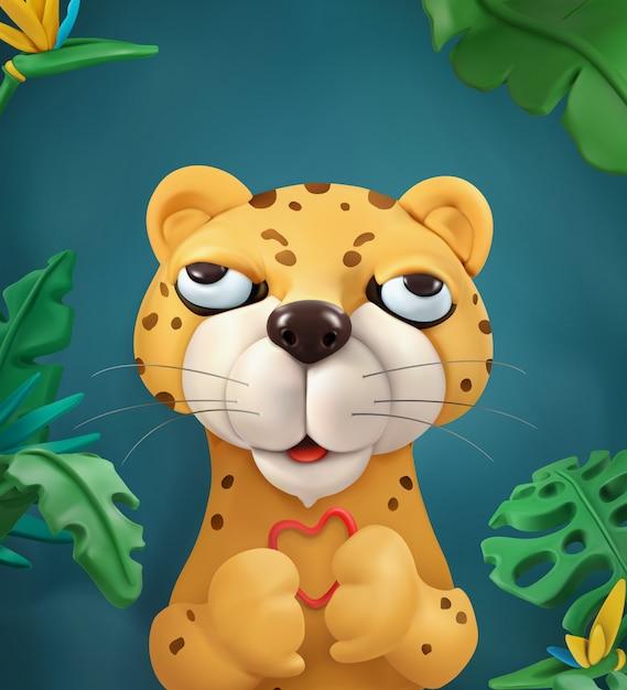 Leopard, zeichentrickfigur. nette tiere, vektorgrafikillustration für grußkarte Premium Vektoren