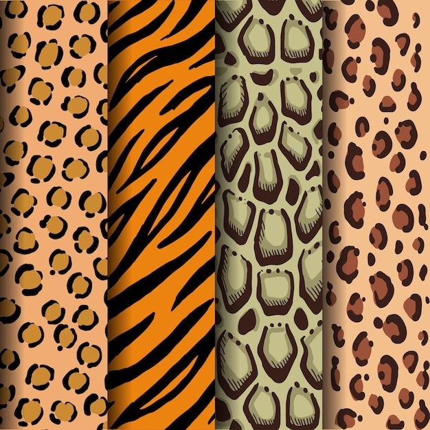 Leopardenflecken, tigerstreifen, bewölkte leopardenflecken und jaguarflecken Premium Vektoren