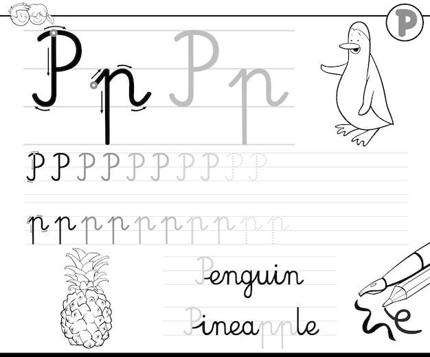 Lernen Brief Schreiben P Download Der Premium Vektor