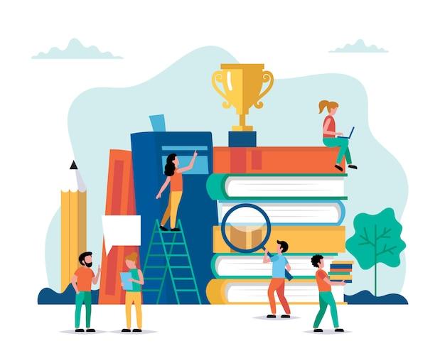 Lernen, kleine leute-charaktere, die verschiedene aufgabenbücher und trophäen erledigen. Premium Vektoren