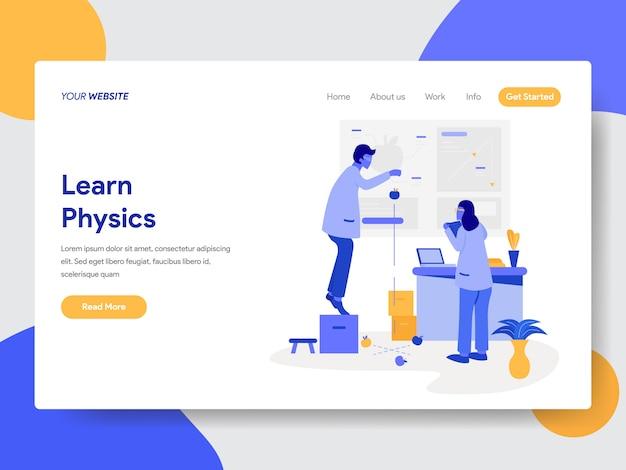 Lernen sie physik-illustration für webseiten Premium Vektoren