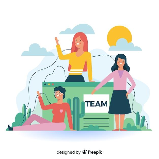Lernen sie unser teamkonzept für die landing page kennen Kostenlosen Vektoren