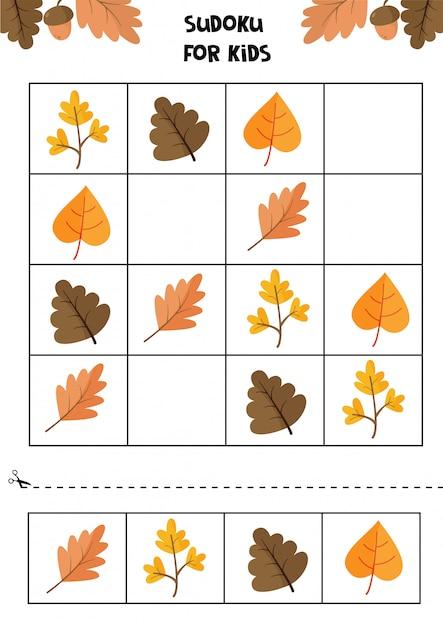 Lernspiel für kinder. sudoku für kinder. herbst arbeitsblatt. satz nette herbstblätter. Premium Vektoren