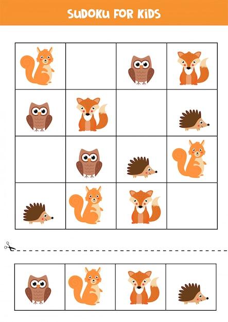 Lernspiel für kinder. sudoku mit waldtieren. Premium Vektoren