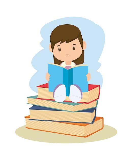 Lesebuch der kleinen studentin Premium Vektoren