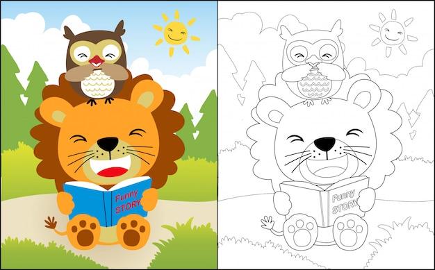 Lesebuch mit löwe- und eulenkarikatur Premium Vektoren