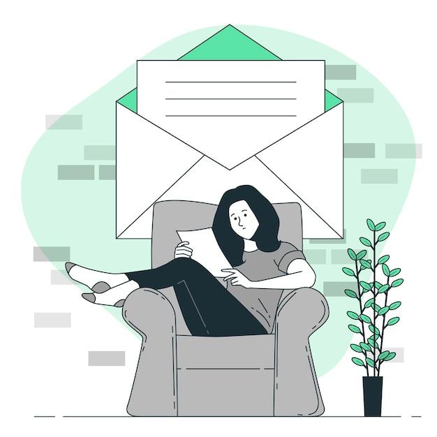 Lesen einer briefkonzeptillustration Kostenlosen Vektoren