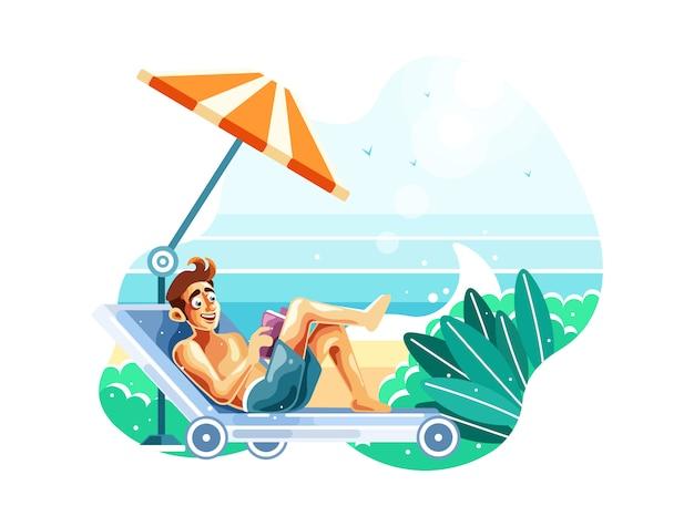 Lesen sie ein buch, während sie am strand entspannen Premium Vektoren