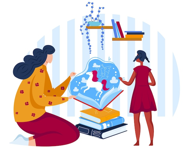 Lesen sie märchenbücher flache vektor-illustration. cartoon mutter geschichtenerzählen, märchen geschichte zu kind tochter in offenem buch mit magischen einhorn lesen, kinder träumen Premium Vektoren