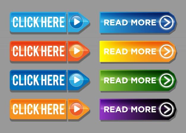 Lesen sie mehr und klicken sie hier, um bunte schaltflächenset Premium Vektoren