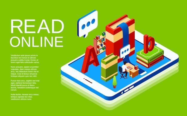 Lesen sie online-illustration der digitalen bibliothek. Kostenlosen Vektoren