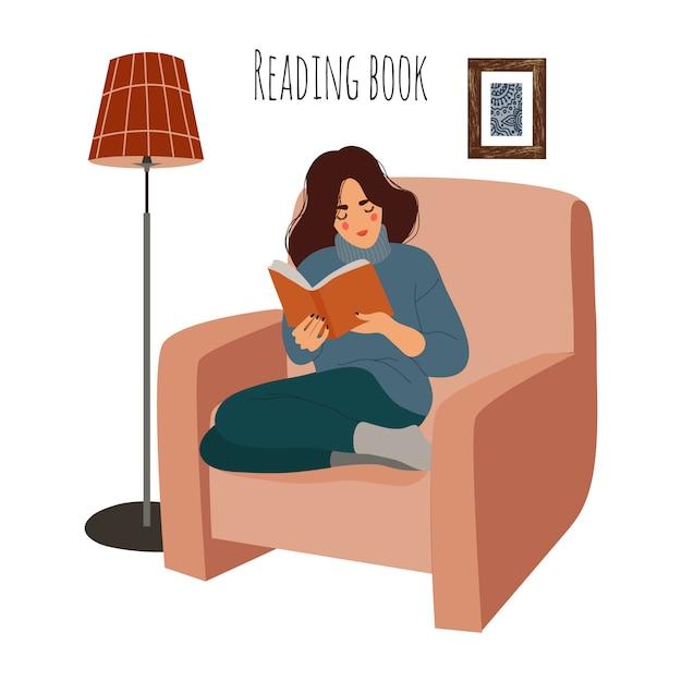 Lesende frau zu hause auf stuhl. mädchen, das auf lehnsessel mit interessantem buch sitzt. flache darstellung, isoliert auf weiss. Premium Vektoren