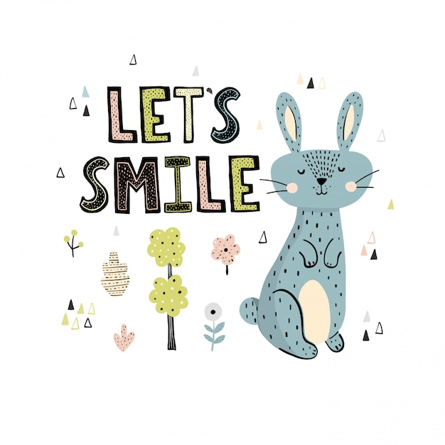 Lets smile print mit einem niedlichen hasen und schriftzug im skandinavischen stil Premium Vektoren