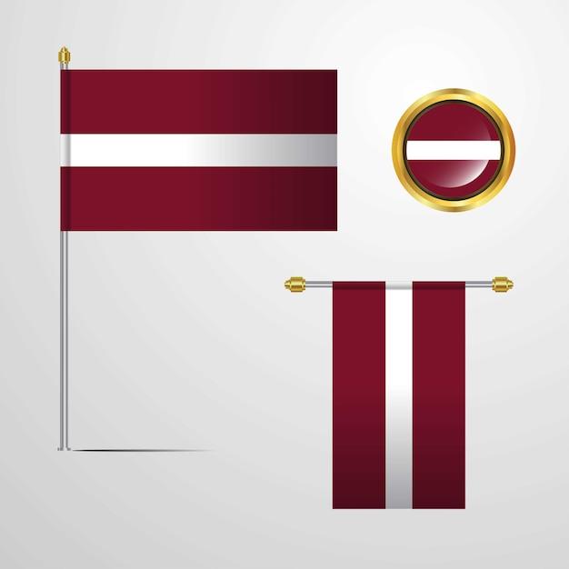 Lettland wehende flaggendesign mit ausweisvektor Kostenlosen Vektoren