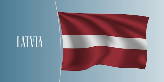 Lettland winkende flaggenillustration Premium Vektoren