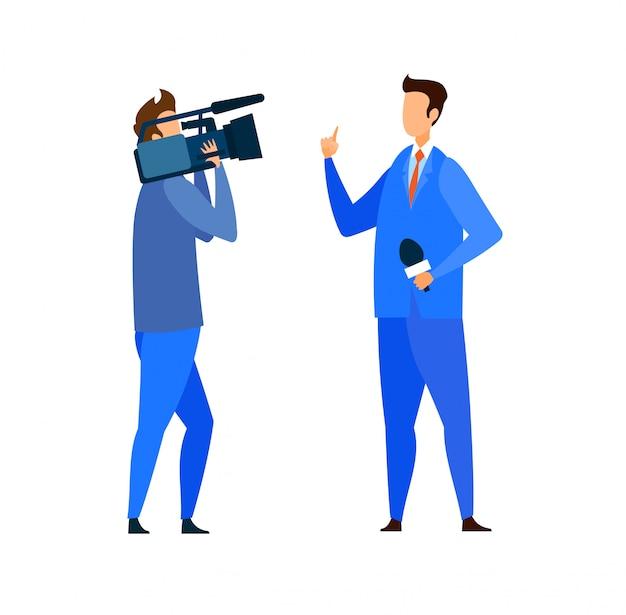 Letzte nachrichten, reportage-flache vektor-illustration Premium Vektoren