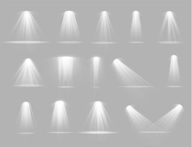 Leuchten sie den vertikalen theaterprojektorstrahl. lichtquellen, konzertbeleuchtung, bühnenscheinwerfer. Premium Vektoren