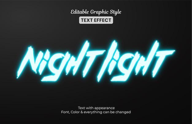 Leuchtend blaues nachtlicht, bearbeitbarer texteffekt im grafikstil Premium Vektoren