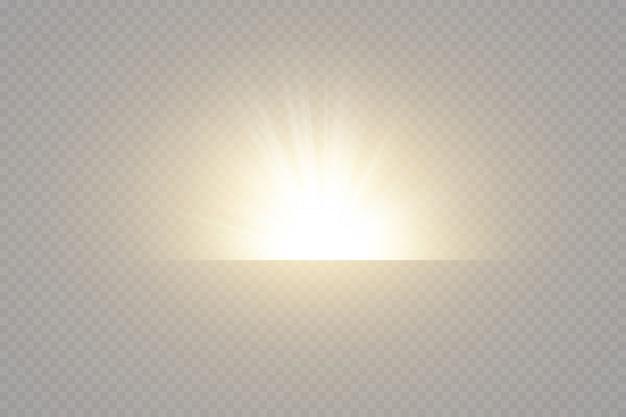 Leuchtende goldene sterne auf schwarzem hintergrund. effekte, blendung, linien, glitzer, explosion, goldenes licht. illustration.set. Premium Vektoren