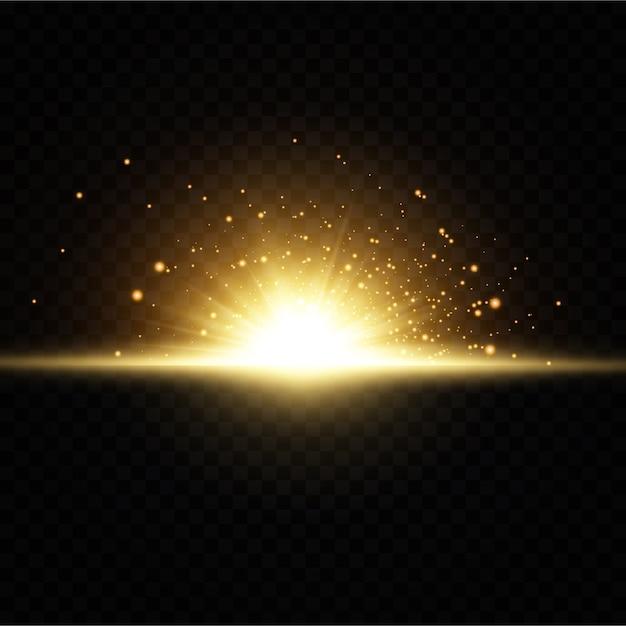 Leuchtende goldene sterne auf schwarzem hintergrund. Premium Vektoren