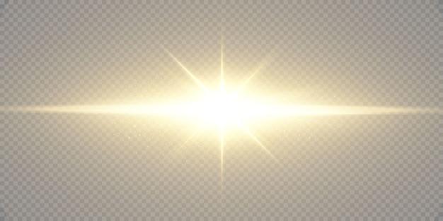 Leuchtende goldene sterne lokalisiert auf schwarzem hintergrund. effekte, linseneffekt, glanz, explosion, goldenes licht, set. leuchtende sterne, schöne goldene strahlen. Premium Vektoren