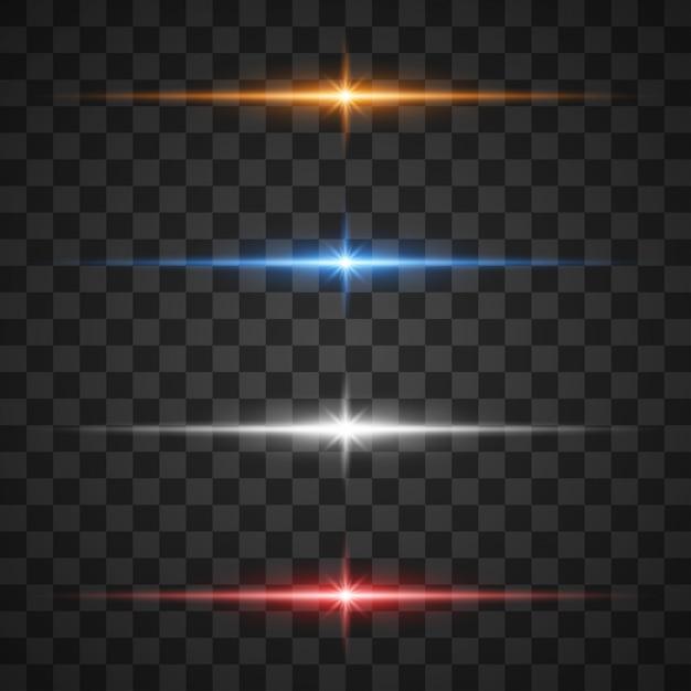 Leuchtende lichteffekte, strahlender stern auf transparent Premium Vektoren