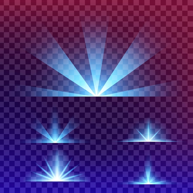 Leuchtende lichteffektsterne platzen vor funkeln. Premium Vektoren