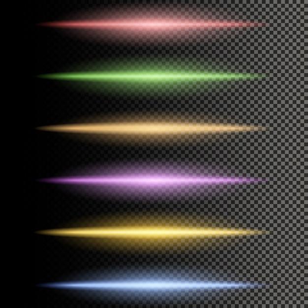 Leuchtende mehrfarbenlinien trennzeichen des lichtes Premium Vektoren