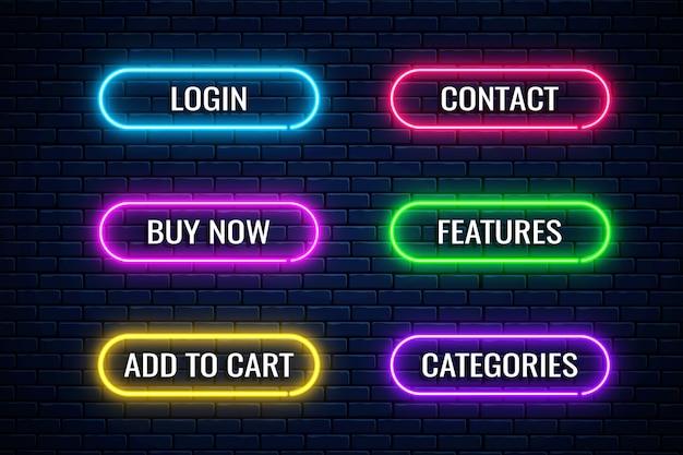Leuchtende neonknöpfe für das design des internetgeschäfts. satz website-shop-button. Premium Vektoren