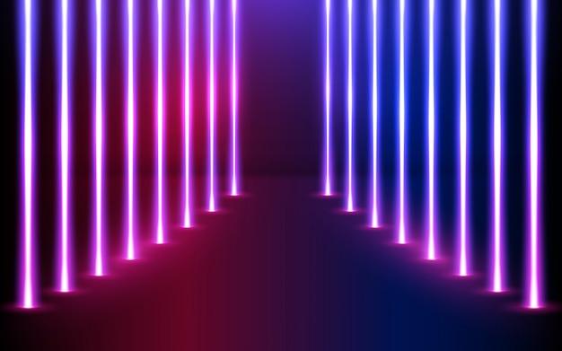 Leuchtende neonlinienrichtung in perspektive. Premium Vektoren