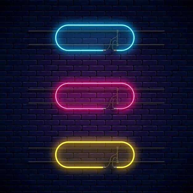 Leuchtende neonrahmen. neonlicht banner gesetzt. Premium Vektoren