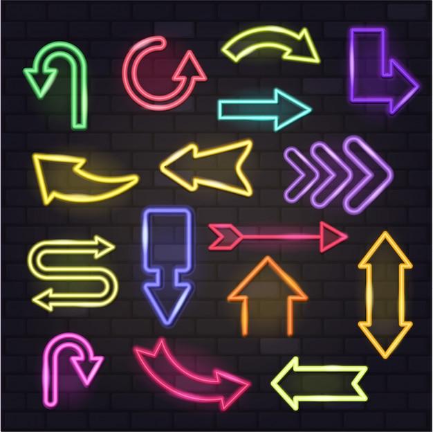 Leuchtende pfeile des neonpfeilvektors und beleuchtete pfeilspitzenrichtungsillustration Premium Vektoren