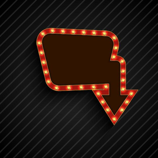 Leuchtende retro licht billboard banner auf schwarzem hintergrund Premium Vektoren