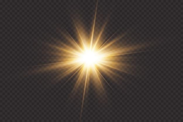 Leuchtende sterne, effekte, blendung, linien, glitzer, explosion, goldenes licht Premium Vektoren