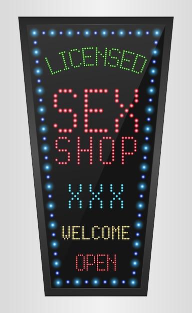 Leuchtender led-banner lizenzierter sexshop Premium Vektoren