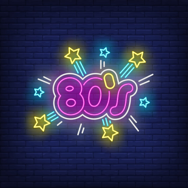 Leuchtender neon-schriftzug aus den achtzigern Kostenlosen Vektoren